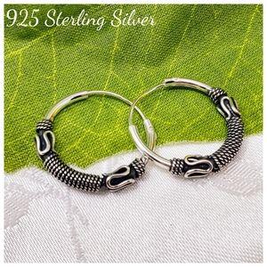 🆕️ 925 Sterling Silver Bali Rope Hoop Earrings